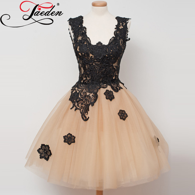 JAEDEN Black Lace Nude Tulle Cocktail Dresses Ball Gown Above Knee Sleeveless Elegant 2017 CS002 V Neck Short Party Dresses