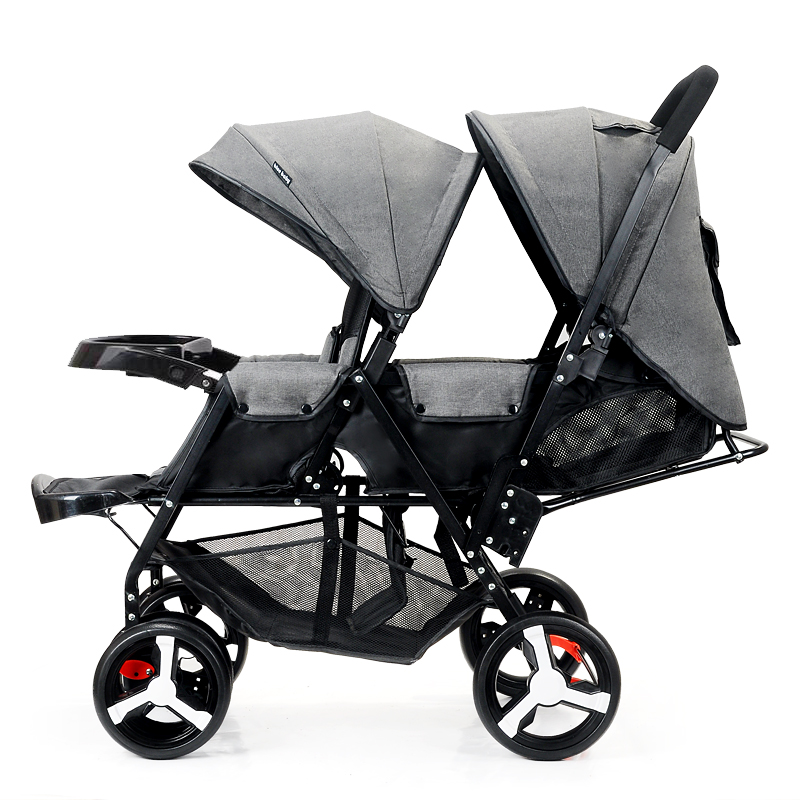 Front and Rear Seat Baby Twin Stroller Flat Lie Double Stroller Portable Folding Baby Stro
