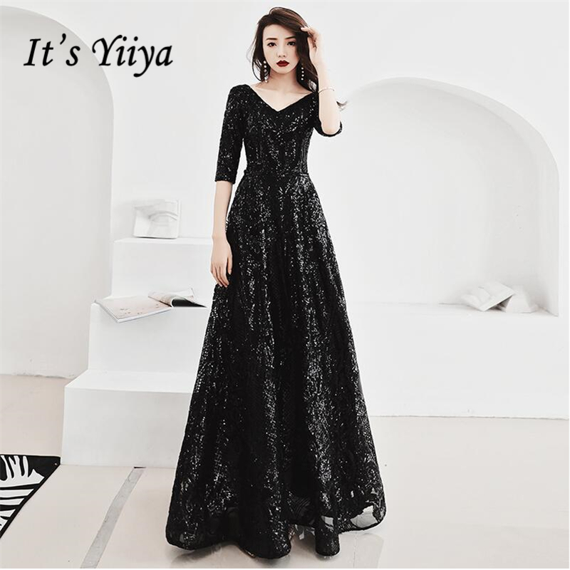 It's YiiYa Evening Dress Sexy V-neck Half Sleeves A-line Formal Dresses Sequined Zipper Lace Up Floor-length Party Gowns E393