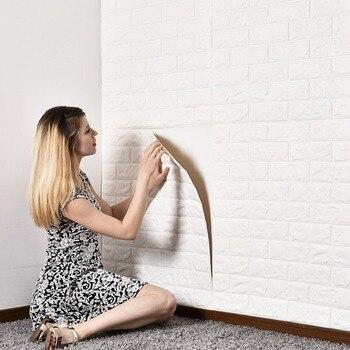 Waterproof Foam Brick 3D Wall Panel DIY Self Adhesive Wallpaper For Kids Room Bedroom Wall Decor 3D Brick Living Room Wall Paper