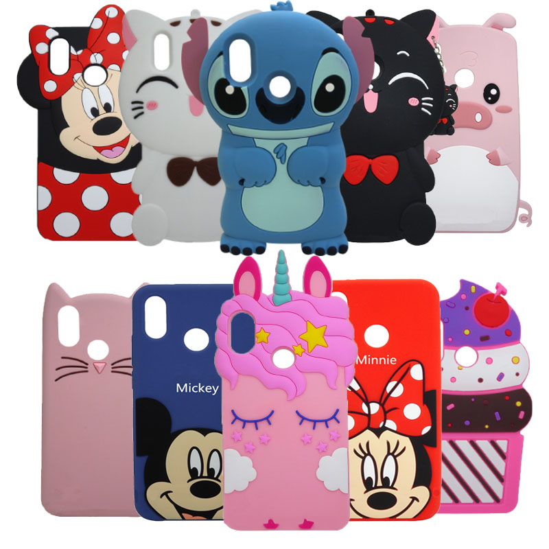 3D Cartoon Case For Huawei P Smart 2019 Case Minnie Cupcake Cat Silicone Phone Cover Case 2019 For Huawei P Smart Coque Bags