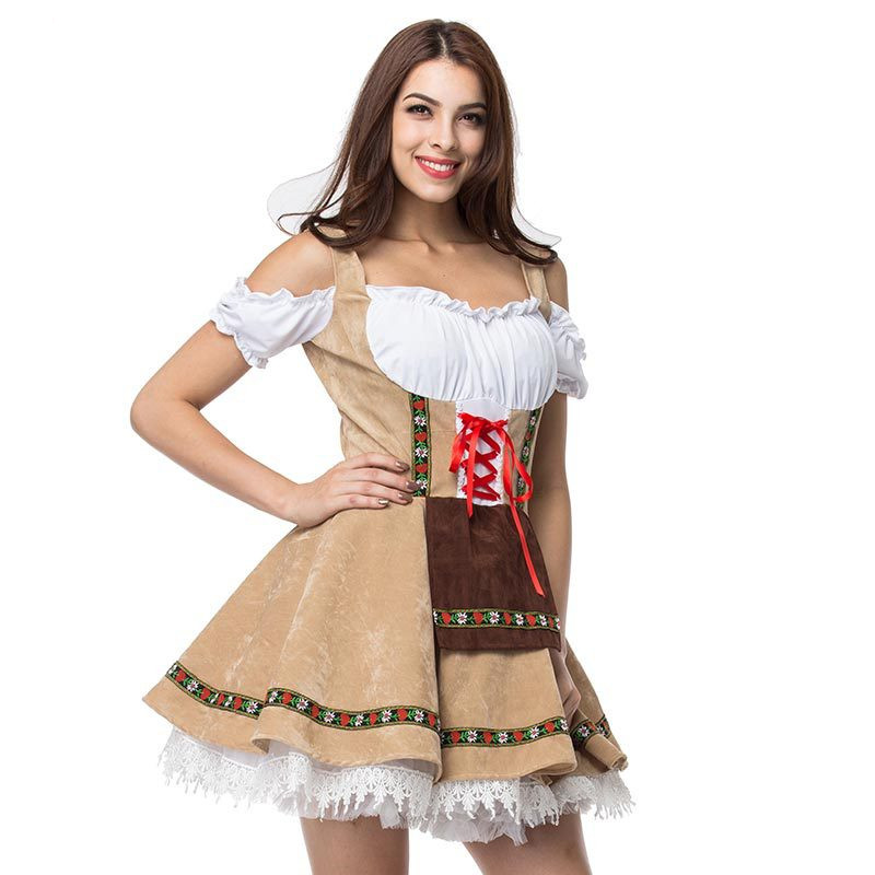 S-3XL 2018 Carnival Festival October Beer Maid Costume German Oktoberfest Wench Maiden Dirndl Fancy Dress