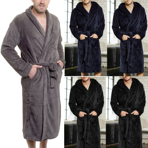 Men's Winter Warm Robes Thick Lengthened Plush Shawl Bathrobe Home Clothes Long Sleeved Robe Coat