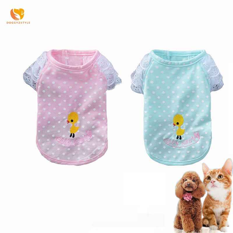 Dog Vest Polka Dot Duck Embroidery Pet Shirt Lace Rotator Cuff Cat T-shirt For Chihuahua Yorkshire Summer Clothes DOGGYZSTYLE