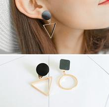 Brand Punk Fashion Triangle Round Geometric Asymmetric Black Earrings Women Party Jewelry pendientes brincos E130