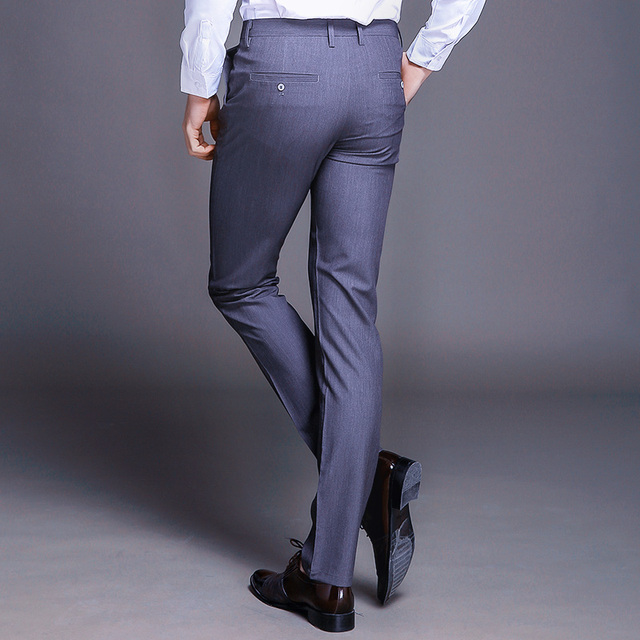 Fashion New High Quality Cotton Men Pants Straight Spring and Summer Long Male Classic Business Casual Trousers Full Length Mid 62
