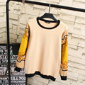 Korean Style Women Sweaters Casual Plus Size Long Sleeve O-neck Knitting Pullovers Sweaters Yellow KK2065