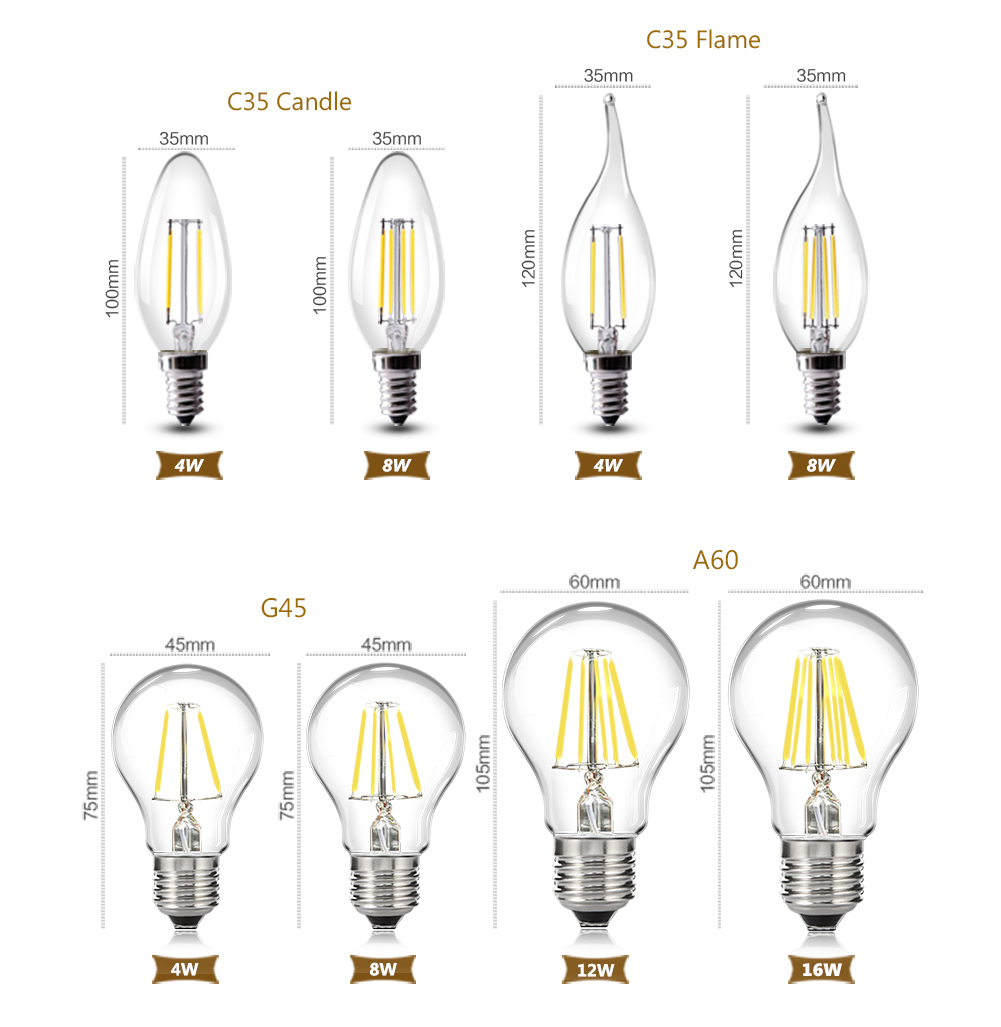 LED Filament Bulb E14 C35 LED Bulb E27 A60 ST64 Edison Light 110V 220V Vintage Candle Light Globe Chandelier Lighting COB Lamp