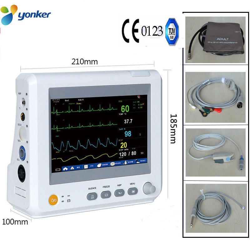 TUV&CE,Sending by DHL,Accessories Completely,7inBlood Pressure ICU Modular Patient Monitor parameter NIBP,S-in Blood Pressure from Beauty & Health