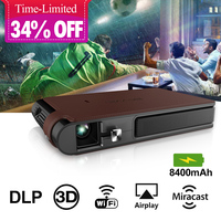 Mini 3D DLP Pico Pocket Projector LED WiFi Full HD Video Office Home Cinema Mobile Beamer Airplay Miracast for Smartphone TV