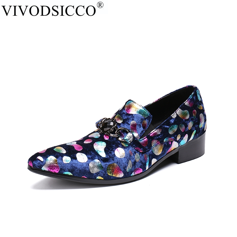 VIVODSICCO Italian Leather Mens Dress Shoes Vintage Metal Pointed Toe Chaussure Homme Luxury Male Formal Party Flats Shoes women ladies flats vintage pu leather loafers pointed toe silver metal design