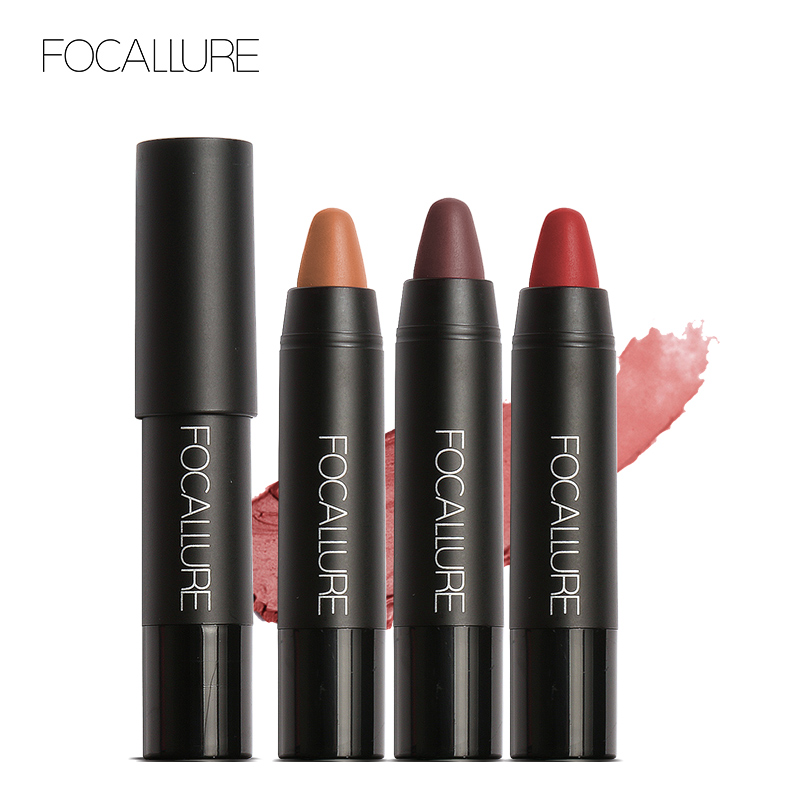 FOCALLURE 19 Colori del Rossetto Opaco Lipsticker Impermeabile Lunga durata Facile da Indossare Cosmetici Labbra Trucco Nude