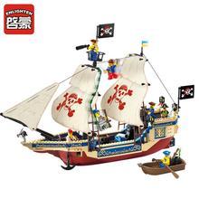 Enlighten 311 487Pcs Pirates Series Ship Model Building Blocks Kits action figure anime bricks Educational Toys for Children