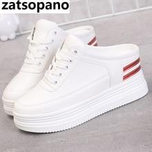 Zatsopano Women running shoes pu leather sneakers slippers 8cm Casual Shoes flat platform wedge height increasing shoes