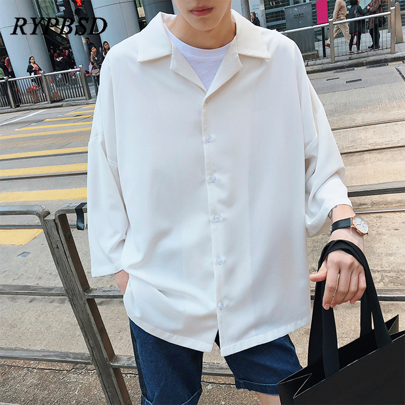 2019 Spring New Harajuku Solid Color Korean Men Shirt Three Quarter Turn Down Collar Casual Streetwear Oversized Dress Shirt Men Платье