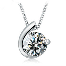 TJP Top Quality Silver 925 Women Necklace Jewelry Trendy Cubic Zirconia Clear Round Moon Design Pendants Girl Bijou