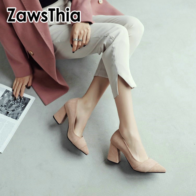 ZawsThia 2019 New Formal Dress Working Office Ladies Shoes Fashion Woman Pumps Stilettos Shoes Girls High Heels Large Size 12 46