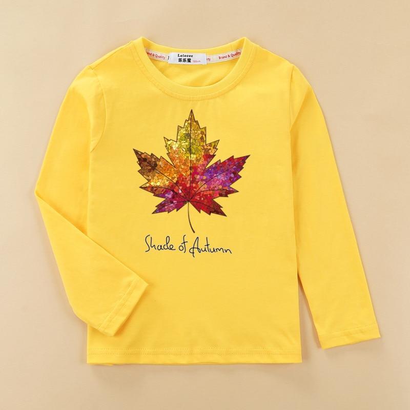 Fashion kids t shirt boys Canada red maple leaves tops long sleeve casual children clothes cotton fun lemon bike baby girls tees 3