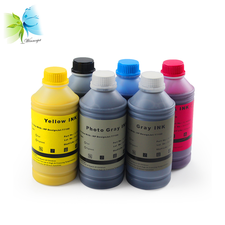 Winnerjet 1000ml/bottle 761 Pigment Ink & Dye Ink Refill For HP Designjet T7100 Large Format Printer image
