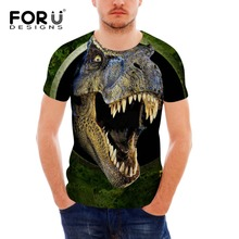 FORUDESIGNS Wholesale 3D Animal T-shirt For Men Silm Fit Tops Tee Short Sleeve Bodybuilding Elastic Dinosaur Trasher Tshirt S M