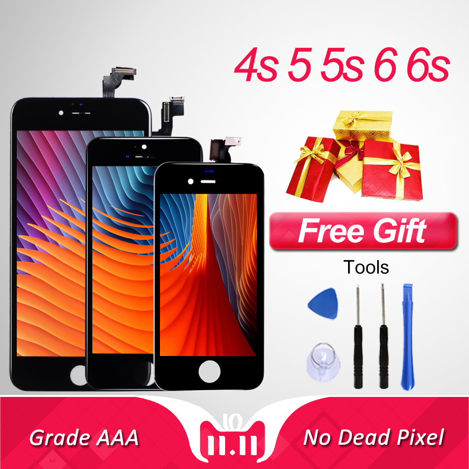 Grado AAA LCD pantalla digitalizador para iPhone 4 4S 5 5S pantalla táctil reemplazo asamblea para iPhone 6 6s pantalla panel con herramientas