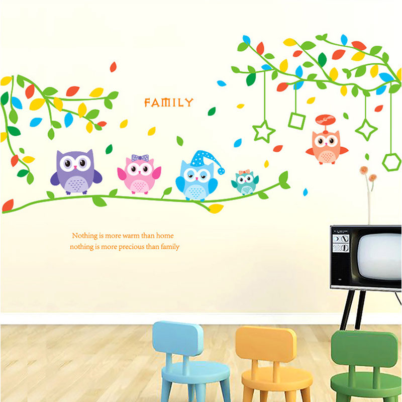 105CM*32CM Cartoon Branch Owl Wall Stickers For Kids Rooms Bedroom Background Muurstickers Home Decor Poster Anime