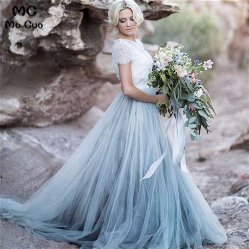 2019 Ready To Ship Bridesmaid Dress With Lace Short Sleeves Wedding Party Dress Tulle White Lace Women Bridesmaid Dresses