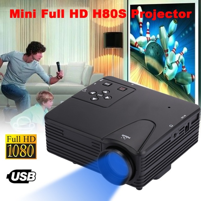 Big Promo New Projector Home Theater Portable mini projector Multimedia System PC 1080P HD Video Projector 80 Lumens USB/AV/SD/TV  Office
