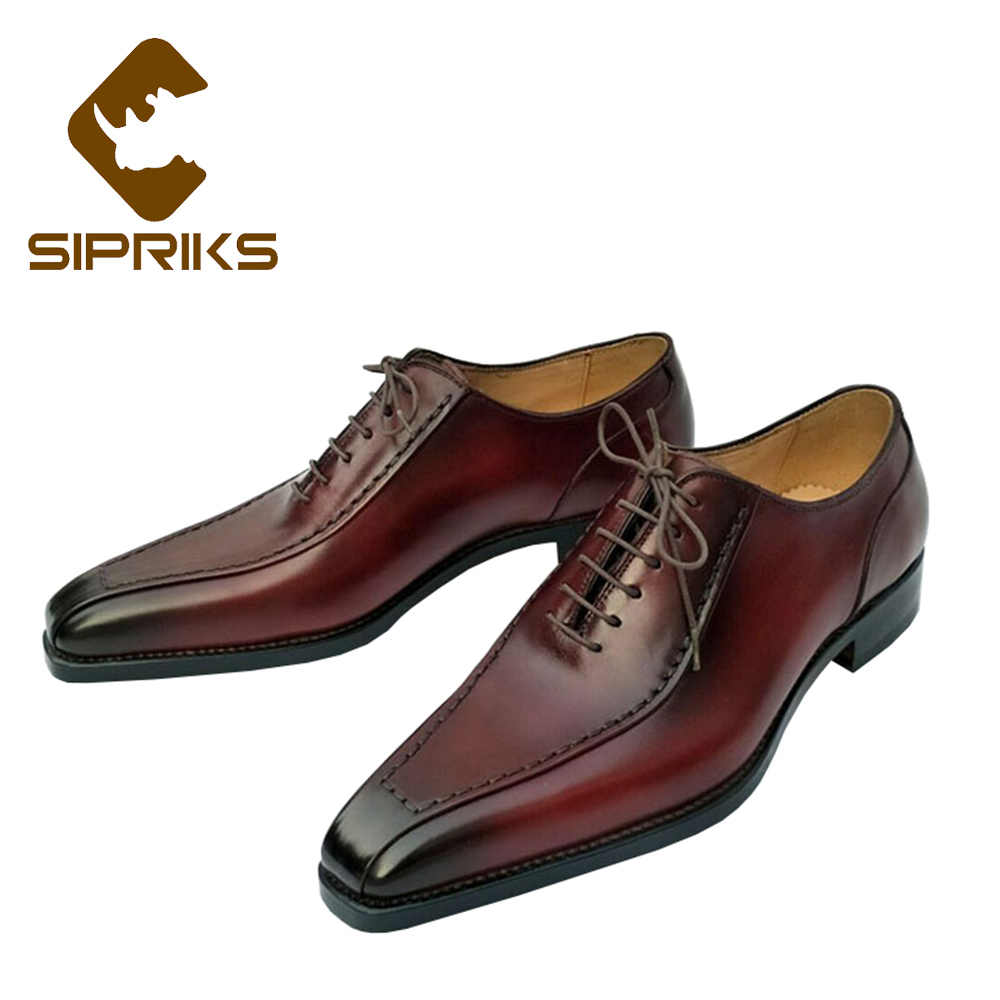 Sipriks Luxury Brand Patina Red Brown Oxfords Shoes For Men Classic Italian Handmade  Goodyear Welted Dress 842de350ab3d