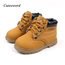 Kids boots shoes winter boys girls toddler snow boots new fashion non-slip plus velvet warm leather boots for girls single shoes