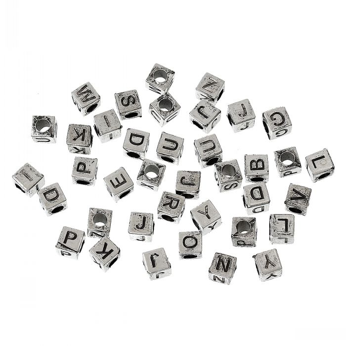 DoreenBeads Acrylic Spacer Beads Cube antique silver color