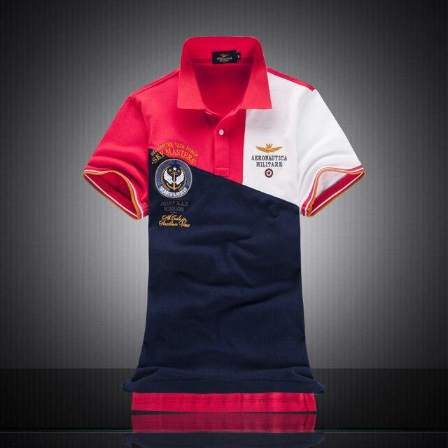 914848ebc163f Chegada nova Cor de Contraste de Alta Qualidade Bordado Camisas Polos  Aeronautica Militare Camisas Dos Homens