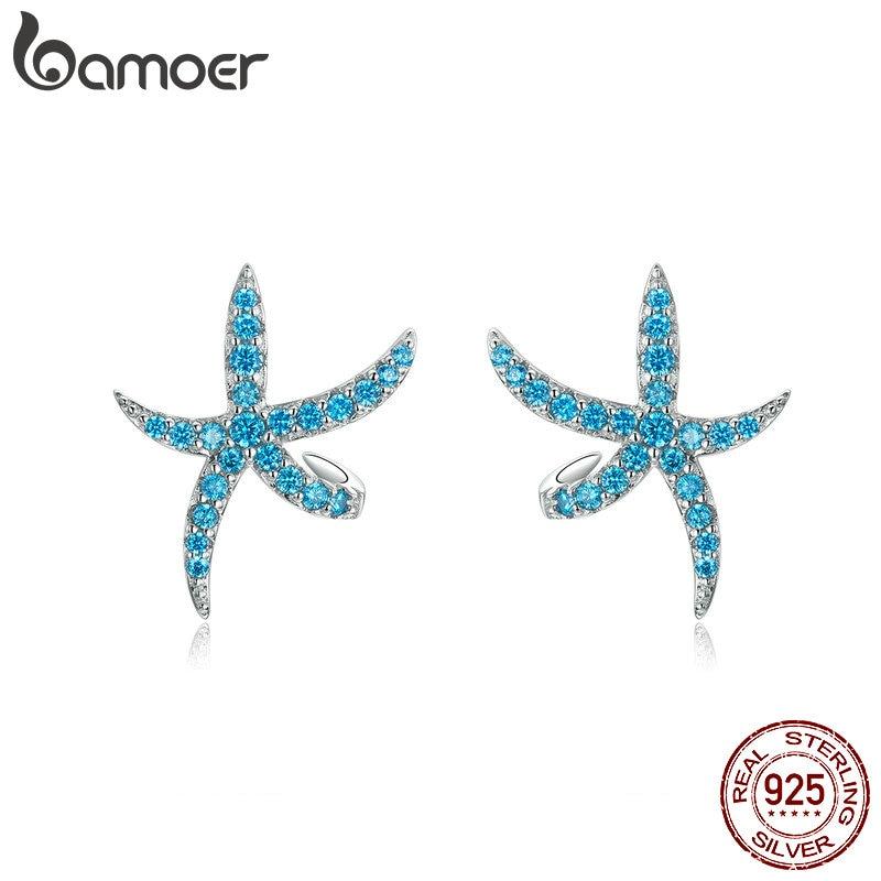 BAMOER Earrings Jewelry Starfish Women Silver for 925-Sterling-Silver Mermaid-Wave Starfish/Animal/Jewelry/..