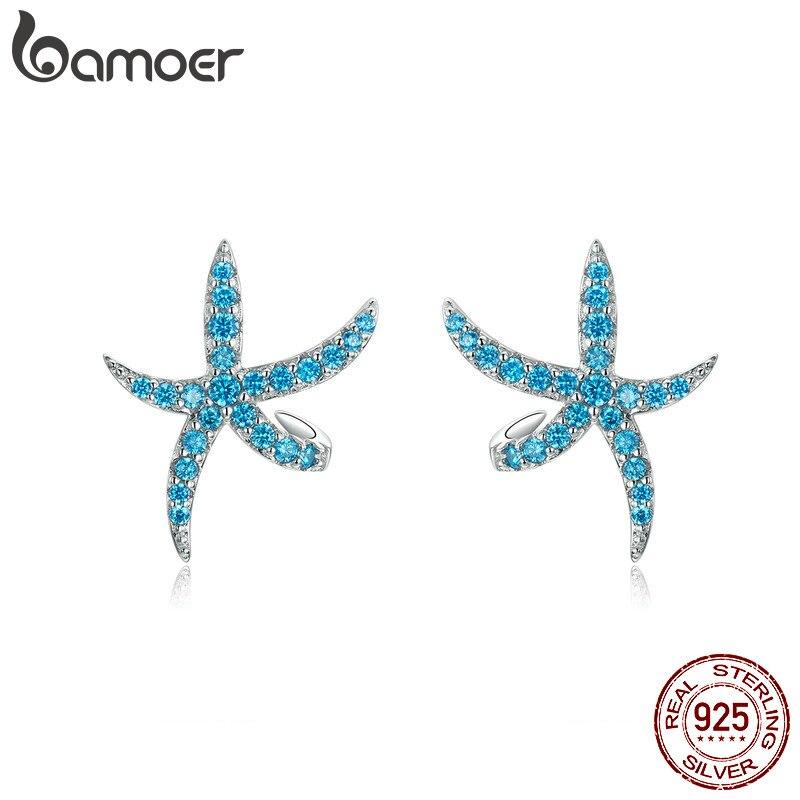 BAMOER Sea Blue CZ Earrings For Women 925 Sterling Silver Earring Mermaid Wave Starfish Animal Jewelry Earing Girl