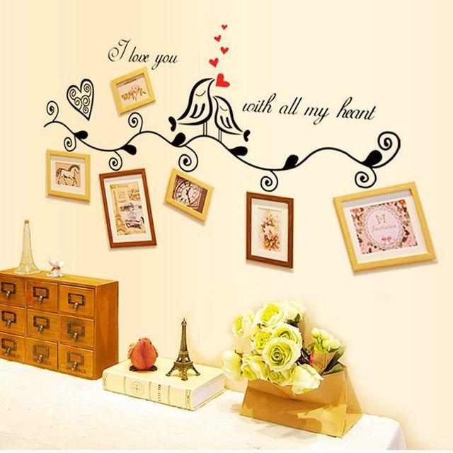 Fashion Design Love Heart Bird Wall Art Stickers Vinyl Decals Family ...