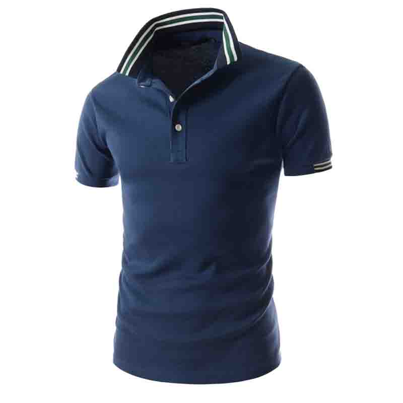 HOT 2019 Summer Business Casual Patchwork breathable Stitchig Color Short-Sleeved Slim Fit   POLO   Shirt Men