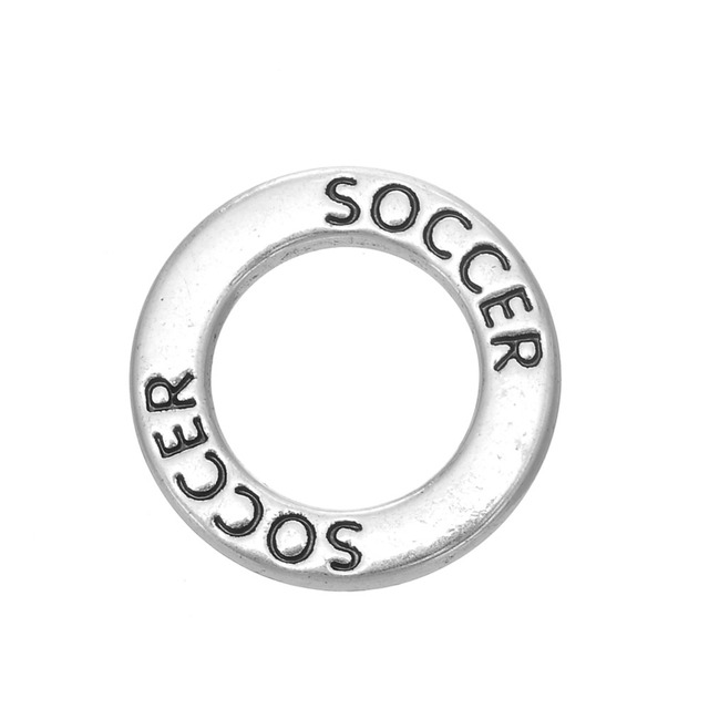 My Shape Engraved Letter Soccer Affirmation Circle Washer Sports Charms For Bracelets Jewelry Whole 30pcs Football