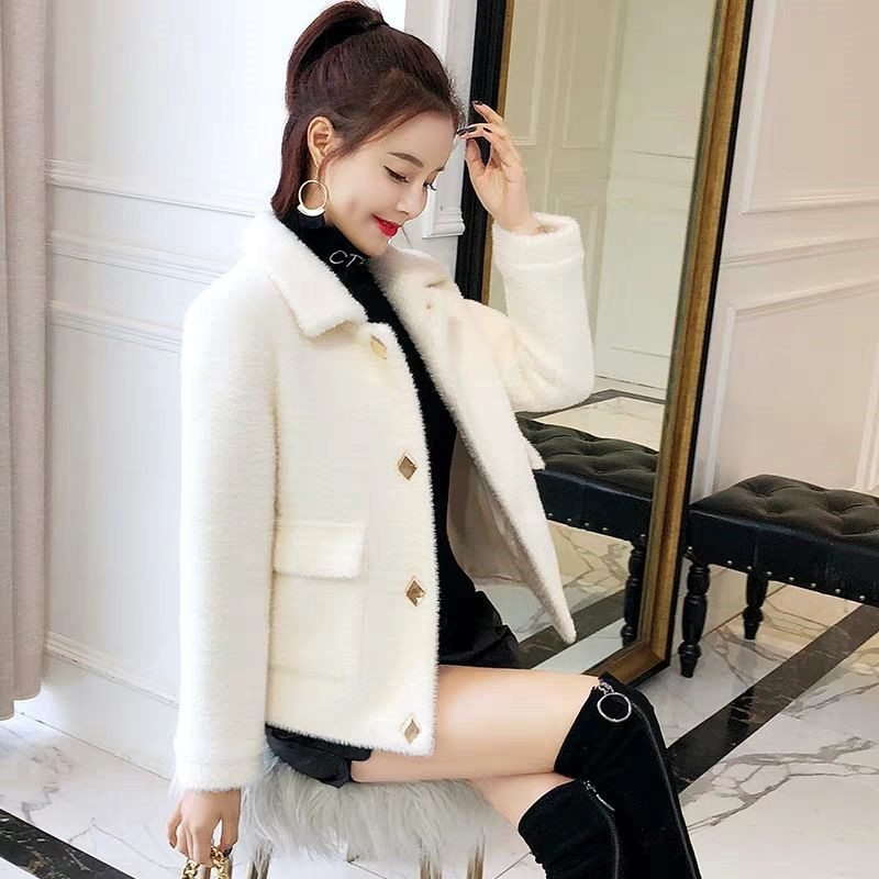 2019 Female Mink Fur Short Coat Full Sleeve Pockets Thick Warm Autumn And Winter Turn-down Collar Office Lady