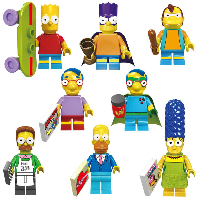 8pcs  Family Homer Marge Bart Lisa Maggie Cartoon Movie DIY Building Block Toys Compatible With Legoinglys Christmas Toys