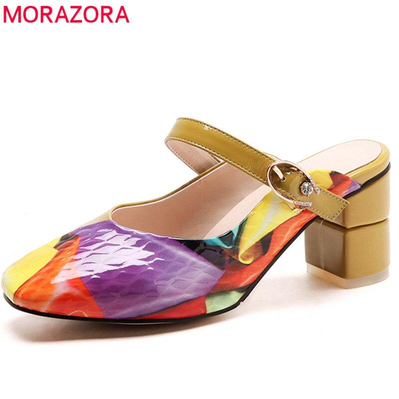 En Carré Boucle Simple Arrivent Véritable Morazora Color Nouveau Mélangées Cuir Talon Couleurs Confortable Femmes 2018 Pompes Chaussures D'été BqwHZUHPn