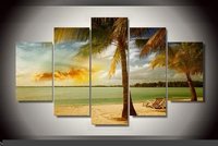 Modern Indoor Decor Original E9 tropical sea beach landscape palm trees print poster canvas in 5 pieces