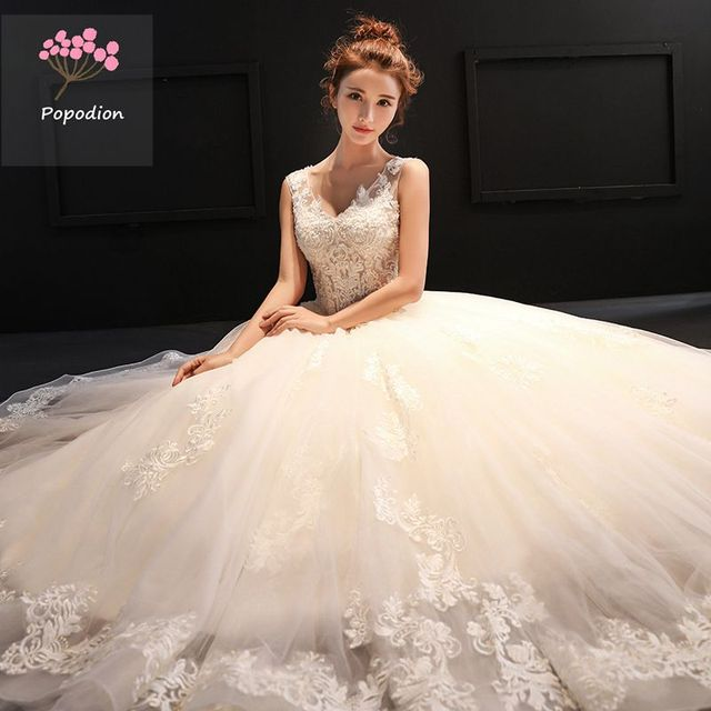 882723e6c3 US $138.69 46% OFF|Popodion summer wedding dress lace sexy plus size  wedding gowns for bride bride dress vestido de noiva WED90450-in Wedding  Dresses ...