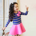 Baby Girls Long Sleeve Striped Bowknot Dress Kids A-Line Pleated One-Piece Dress 2-7Y YRD