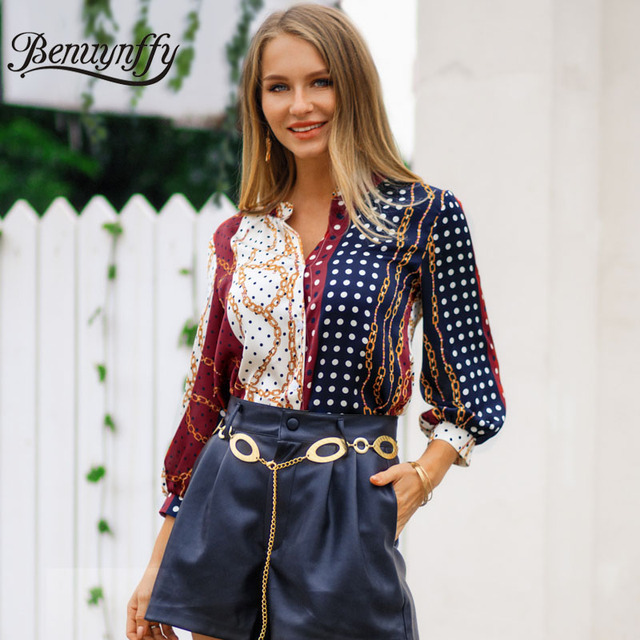 3a2be9763e71f Benuynffy Mixed Print Highstreet Women Blouse Shirt 2019 Spring Casual  Office Button Top Female V Neck 3/4 Sleeve Blouses Tops