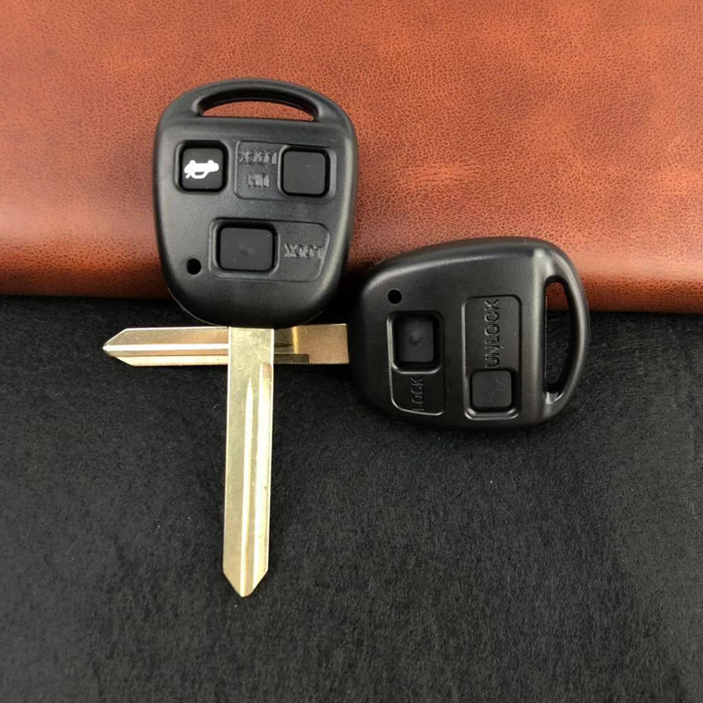 OkeyTech Car Key Shell Case Fob For Toyota Yaris With TOY47 Uncut Blade Auto Key Fob Replacement With Rubber Button Pad 2 3 BTN