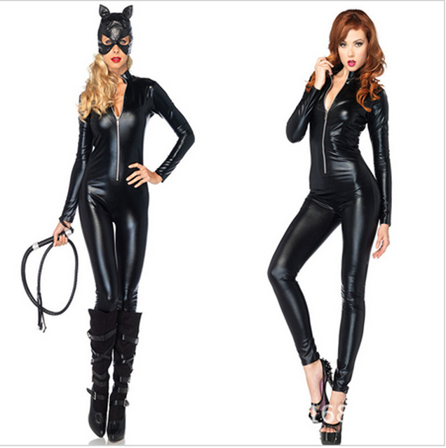 2016 Hot Selling Cat Costume Sexy Latex Cat Suit Shiny Party Fashion Girl Lady Unique Wear Cat Women Costume Free Shipping
