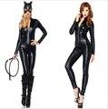 2016 Venta Caliente Traje de Gato Sexy Traje De Gato de Látex Brillante Party Girl Fashion de Señora Unique Desgaste Gato Traje de Las Mujeres Libres gratis