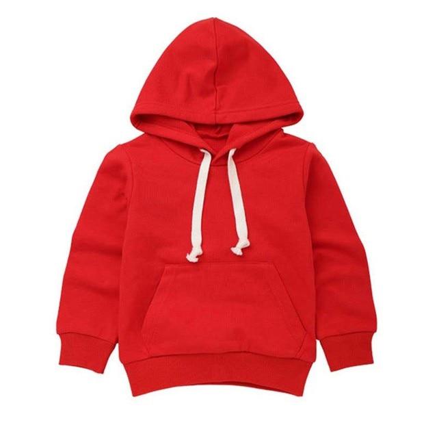 2018Children Sweatshirts Kids Boys Girls Solid Pocket Hooded Pullover Sweatshirts Autumn Winter Hoodie Outwear Tops Clothes