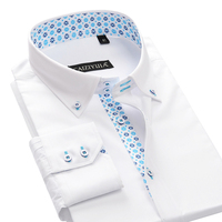 100% Cotton Floral Printing Neck Men's Dress Shirt Long Sleeve Slim Fit Male Smart Casual Business Forma Shirts