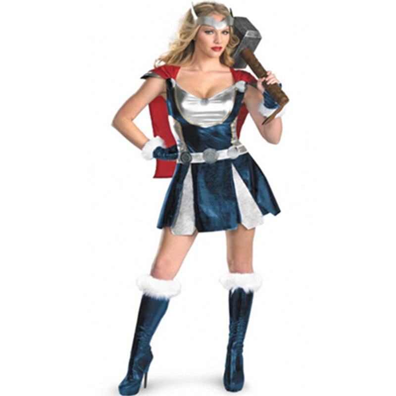 <font><b>Halloween</b></font> Hero Cosplay Costumes <font><b>Sexy</b></font> Masquerade Woman Thor God of Thunder Role Play <font><b>Disfraces</b></font> image